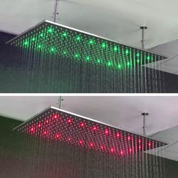 Température de douche de couleur en Ligne-30x60cm grand pluie LED plafond de douche monté en acier inoxydable 304 finition chromée changement de couleur trois selon la température de l'eau