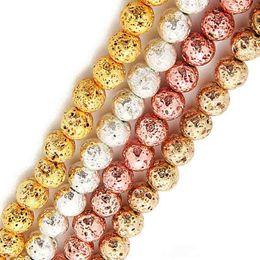 2019 encantos de ópalo azul al por mayor 65 unids / lote 6 mm 4 colores para elegir 6 mm / 8 mm plateado lava volcánica de plata plata chapado en oro redondo perlas sueltas