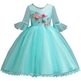 images flare short dresses Promo Codes - Vestido Comunion Lovely Applique Beaded Lace Flower Girl Dresses 5 Colors Long Flare Sleeve First Communion Dresses For Wedding MC1876