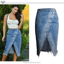 Calças jeans comprimento joelho on-line-Saia das mulheres Frente Dividir Azul Jeans Verão Estiramento Bodycon Cintura Alta Denim Lápis Saia Jeans Na Altura Do Joelho-Comprimento Femme
