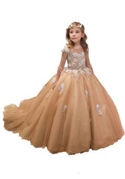 ragazza di fiore del neckline di illusione Sconti appliques all'ingrosso vestito a fiori ragazza in vestito da spettacolo del merletto per le ragazze della principessa del merletto per abiti da sposa ragazze di fiore per il compleanno