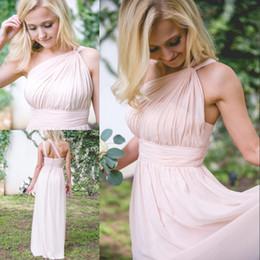 Nueva Blush Pink Vestidos de dama de honor Vestido largo de gasa Vestido formal Un hombro Vestido de dama de honor Vestidos de dama de honor Tallas grandes Invitado de boda desde fabricantes