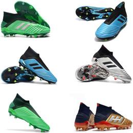 2019 zapatos de césped para niños 2018 Predator original de 19 + 17 + Tacos de fútbol Tango Purecontrol FG botas de fútbol botas de fútbol de césped muchachos para los niños negros de paquete Acelere zapatos de césped para niños baratos