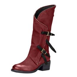 Botas x dedo del pie online-2019 botas de invierno las mujeres Slip-On punta redonda sobre los cargadores de la rodilla de tacón cuadrado mujeres del talón del cuadrado de # X bota feminina inverno