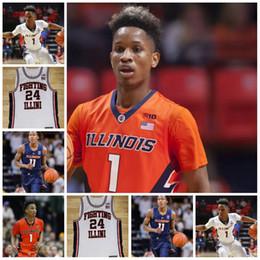 lbj elite Rebajas 2019 Illinois Fighting Illini personalizada camiseta de baloncesto Griffin # 1 Trent Frazier Nichols 11 Ayo Dosunmu Bezhanishvili Jones Feliz Jersey