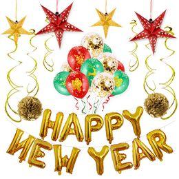 cupcakes do dia de pais Desconto 2019 Feliz Ano Novo Balões Foil Feliz Natal Bandeira BALLON Decoração de Casa