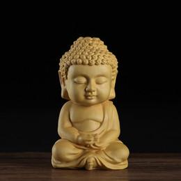 Ornamento de mão de buda on-line-New 7 * 4CM Chinese Box Twig Buddha escultura em madeira ornamento interior do carro Budismo Figura mão-de artesanato Interior Acessórios Car presentes