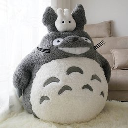 totoro figures Promo Codes - Dorimytrader Quality Hot Anime Totoro Plush Toy Big Fat Stuffed Cartoon Totoro Doll for Children Gift Decoration 55cm 77cm DY50561