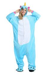 Pigiama blu Unicorno per maniche lunghe in pile con cappuccio Adulti Home Wear Costumi mascotte Abbigliamento notte Abbigliamento da notte Caldo da