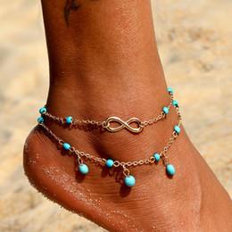 Biquini de cor prateada on-line-Bohemian Antique Silver Color Infinito Tornozeleira Mulheres Big Blue Stone Beads Verão Bikini Beach Vintage Anklet Pulseira Jóias 2019