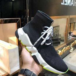 2020 meias Verde Lime Lace Up Meia Sapatos Speed Trainer Sneaker Tops 2019 Sneakers Speed Trainer Meia Corrida Sapatos Com Caixa, saco de pó desconto meias