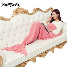 cb5b279094 China Autumn Warm Knitted Mermaid Tail Blanket Handmade Crochet Mermaid  Blanket Kids Adult Throw Bed Wrap