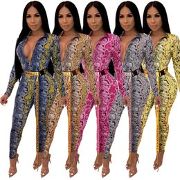 77188cb91e0 Hot Sale stylish printed jumpsuit 2019 spring deep v neck full sleeve  catsuit women plus size full length party bodysuit YM8332