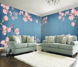 Carta da parati d'uva vintage online-2019 New 3d Paper Wall Europeo Vintage Magnolia e piccoli uccelli sfondo personalizzato decorazione murale carta da parati