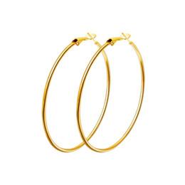 Brincos brincos grandes on-line-Venda quente 40mm-80mm Big Hoop Brinco Novo Polimento Exagerado Hoop Ear Loop Círculo Suave Para As Mulheres Meninas Prata Cor De Ouro