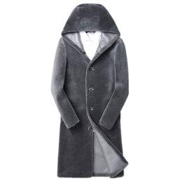 Chaqueta de invierno para hombre Abrigo de lana 100% Abrigos largos de piel de oveja de piel de oveja de abrigo largo Use chaquetas de cuero de doble lado Chaqueta Hombre MY1673 desde fabricantes