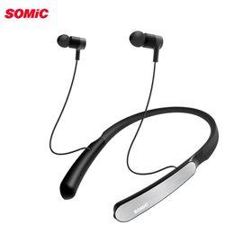 Соматические гарнитуры онлайн-Somic SC1000 Спорт Bluetooth наушники с активным шумоподавлением шейный ремешок беспроводные наушники гарнитура для телефонов и музыки