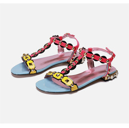 Mixed Color T strap Gladiator Sandalias Mujer 2020 Beading Pearl Flat Summer Shoes Bohemian Style Rivet Holiday Sandals Women
