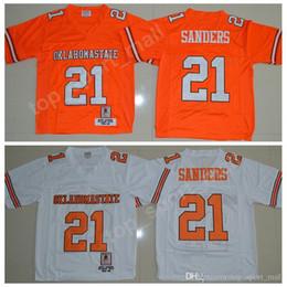 Gran fútbol anaranjado online-NCAA Oklahoma State Cowboys fútbol jerseys Colegio cosido 21 Barry Sanders Jersey 1986-88 temporada de Big 12 hombres Sticthed Naranja Blanco