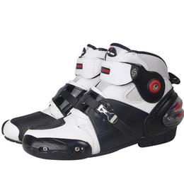 Motosiklet Boots PRO-BIKER Yüksek Ayak bileği yarış çizme BIKERS deri yarış Motokros Motosiklet Binme A09003 Ayakkabı nereden
