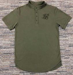 Camisas de algodão branco liso on-line-Homens Tee camisetas Preto Branco Verde Curva Hem Estiramento Mais Recente Designer de Camisas Lisas Para Algodão siksilk T camisa