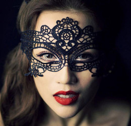 Argentina 1 UNIDS Negro Mujeres Sexy Máscara de Ojo de Encaje Máscaras Del Partido Para La Mascarada de Halloween Disfraces Venecianos Máscara de Carnaval Para Anonymous Mard Suministro