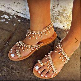 Canada Deep Mountains Designer été commerce extérieur nouveau sandales à fond plat de perles européen et américain perlé à la main Offre