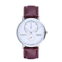 Reloj acuático mujeres online-NOMOS Relojes Hombres y mujeres de marca Diseño minimalista Correa de malla de acero y cuero Moda para mujer Relojes de cuarzo simples resistentes al agua