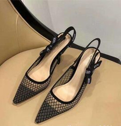 Malha de tira on-line-Novas mulheres da moda Shallow sapatos de sola lisa malha Slender sandálias de salto alto