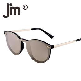 2019 óculos de sol redondos e reflexivos Espelhado óculos de sol sem aro lente reflexiva flash one piece retro vintage rodada óculos de sol mulheres homens tendência oculos oculos gafas óculos de sol redondos e reflexivos barato