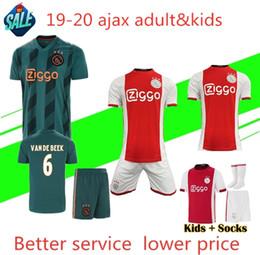 Kits de fútbol personalizados online-19 20 Ajax FC Soccer Jerseys kits de niños de casa 2019 2020 Personalizados # 7 NERES # 10 TADIC # 4 DE LIGT # 22 Camiseta de fútbol ZIYECH