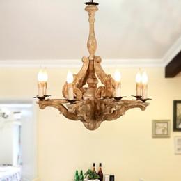 Lampada da sospensione a sospensione a 8 luci in legno da cucina in stile  country a forma di candela. Illuminazione 110V US