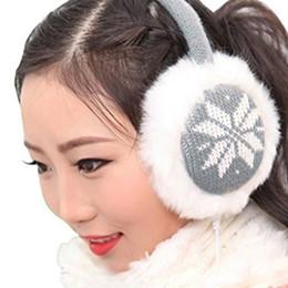 Cuffie delle signore online-Snowflake Stampa Ear Fluffy Faux Fur Trim Scalda Cuffia Musica delle donne della signora