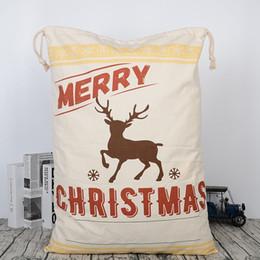saco de natal atacado Desconto 2018 Novo Saco de Presente de Natal Grande Tela de Papai Noel Elk Canvas Cordão Saco Atacado 50 pçs / lote SH190709