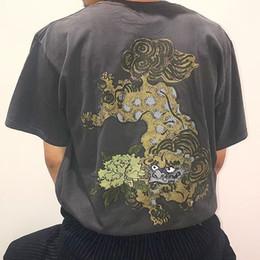 T-shirt gedruckter hund online-19SS FU DOG TEE Druck T Fashion Skateboard T-Shirt Männer Frauen Street Casual mit kurzen Ärmeln Sommer HFLSTX480