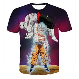 cool pattern shirts men Promo Codes - ONSEME Anime Z Goku VS Frieza Printed T Shirts Mens Cool DIY Pattern 3D T Shirt Hip Hop Tops Harajuku Tees Drop Ship