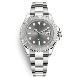 2020 relojes automáticos para hombres Reloj de plata yate Estilo 40mm Hombres Dial Maestro reloj mecánico automático del zafiro de cristal Modelo clásico plegable de la hebilla de reloj de pulsera rebajas relojes automáticos para hombres