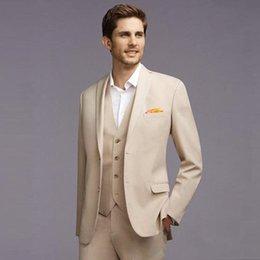 Canada New Slim Fit Beige Men Suits Wedding Groom Tuxedos Bridegroom Set 3 Pieces (Jacket+Pants+Vest) Best Man Blazer Prom Wear 211 Offre