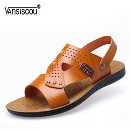 Мягкие удобные туфли онлайн-VANSISCOU Men Casual Soft Leather Sandals Anti-skid Breathable Outdoors Amphibious slippers Open Toe Comfy Footwear Beach Shoes