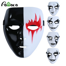 2019 mascarilla blanca de miedo Scary White Face Mask Party Ball Mask Ghost Hip-hop Cool Face Full Masquerade Cosplay de moda para Halloween Holiday rebajas mascarilla blanca de miedo