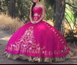 2019 bola de ouro rosa Ouro vermelho bordado Debutante vestido de baile Rose Pink Quinceanera Vestidos Masquerade Dress Wine Red Prom Dress desconto bola de ouro rosa