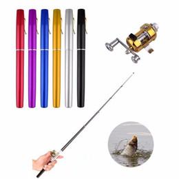 Conjunto de polos online-Portátil de bolsillo de viaje Mini aleación de aluminio en forma de caña de pescar caña de pescar con tambor de metal carrete de la rueda combo plegable conjunto de pesca 1 metro