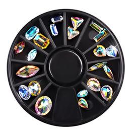 quadratische nägel kunst Rabatt Nagel-Kunst-Rad-AB Rhinestone-bunte Kristall Gems Glitter Round Square Wassertropfen 3D DIY spitzt Dekoration Zubehör