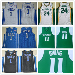 Jerseys duque on-line-NCAA St Patrick # 11 High School Kyrie Irving Green Basketball Jersey Costurado 24 Kyrie Irving Branco Duque Azul Devils Faculdade Camisas