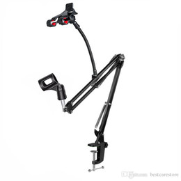Suporte de braço on-line-Microfone Suspensão Boom Scissor Arm Stand com Suporte De Mesa Clamp Kit de Montagem de Telefone Preto para Microfone Condensador