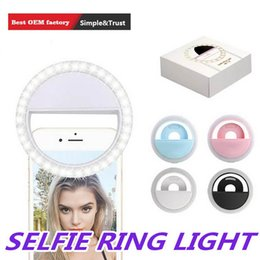 Argentina Recargable selfie anillo de luz portátil flash LED de la cámara del teléfono Fotografía Fotografía potenciador para Smartphone iPhone Samsung con el paquete Suministro