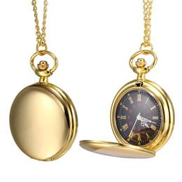 superfície dourada Desconto 1PC Men Women Quartz Relógio de Bolso de Ouro Polido Caso de Superfície com Corrente LXH
