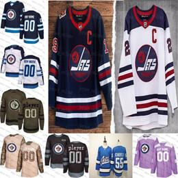 2019 американский хоккейный трикотаж 2019 Heritage Классических Пользовательские Виннипег Джетс мужского женские молодежный Голубой Белая Черный камуфляж плоско США Персонализированного льда хоккей прошитой S-3XL скидка американский хоккейный трикотаж