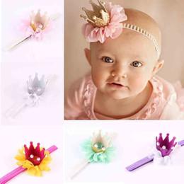 2019 adornos para el pelo perlas Baby Hair Band Kids Designer Headbands Pearl Lace Color sólido Corona Decoración Elastic Force Headwear Headband 49 adornos para el pelo perlas baratos