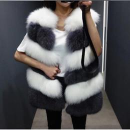cappotto di pelliccia di volpe di lusso Sconti Fluffy Women Coats 2019 Luxury Women Faux Fur Vest Femininos Inverno Autunno Outwear senza maniche grande visone pelliccia di volpe gilet M503